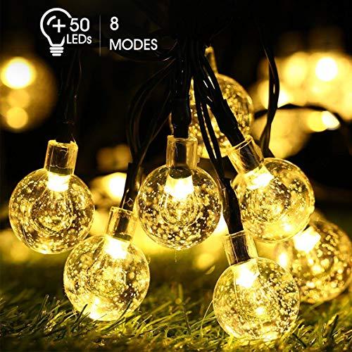 Koaod Solar Lichterkette Aussen,50 Led 9.5M Lichterkette Kristall Kugeln IP65 Wasserdicht Warmweiß Beleuchtung Deko für Garten, Bäume, Weihnachten, Hochzeiten, Partys[Energieklasse A++]