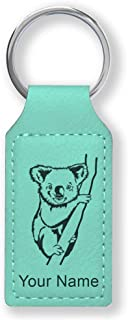 Rectangle Keychain, Koala Bear, Personalized Engraving Included (Teal)