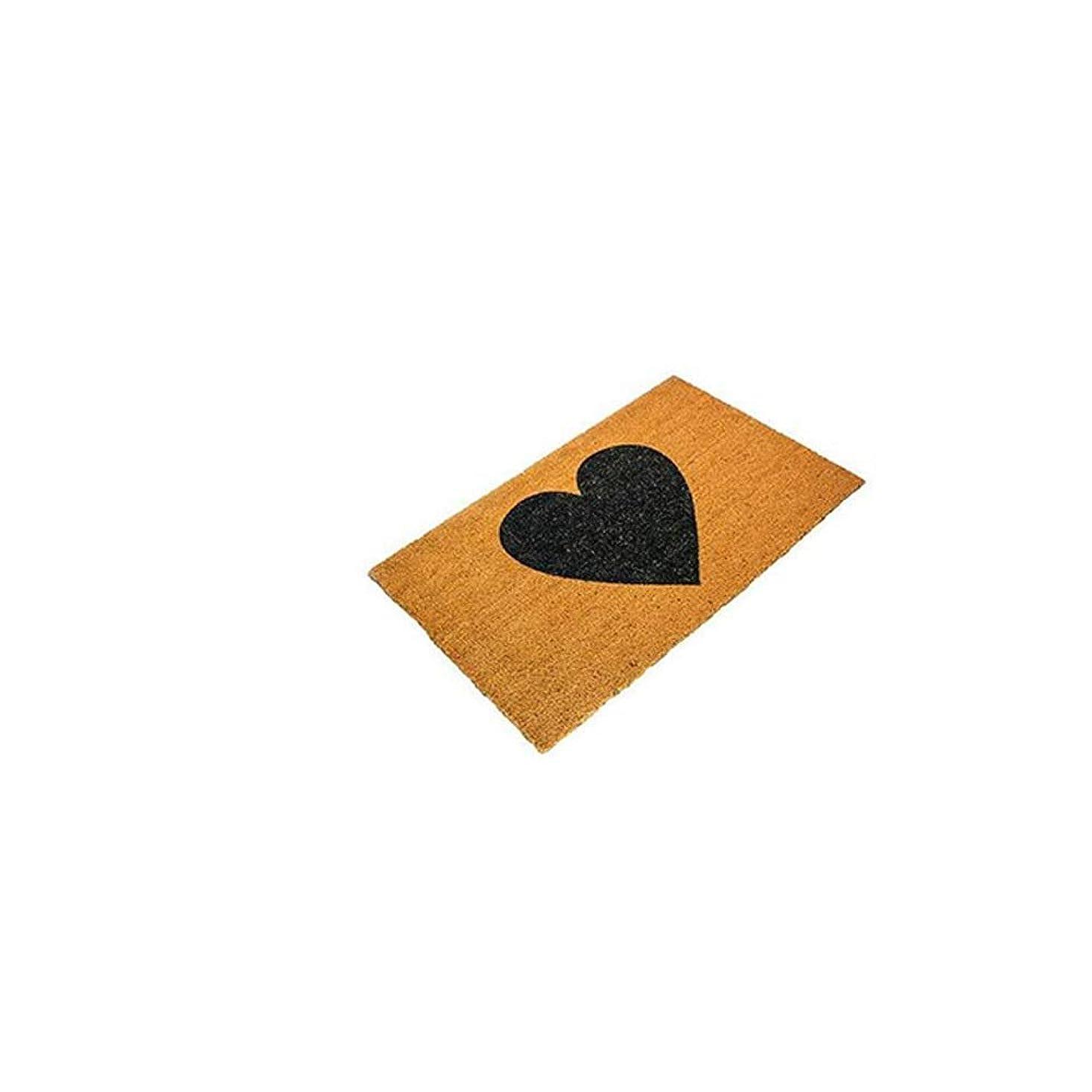 スーダン塗抹誓いカーペット、輸入自然環境保護ココナッツ椰子マットポーチ入り口ドア素朴なハート型マットホワイト/ブラック (色 : ブラック, サイズ さいず : 60x90cm)