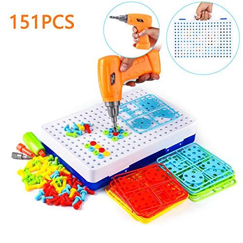 FORMIZON Mosaik Steckspiel, 151 Stücke Steckspiel Spielzeug, 3D Puzzle Mosaik Spiel mit Drillen Kinder Bausteine, DIY Werkzeuge Spielzeug Steckspiele für für Kinder Junge Mädchen 3 4 5 Jahre Alt