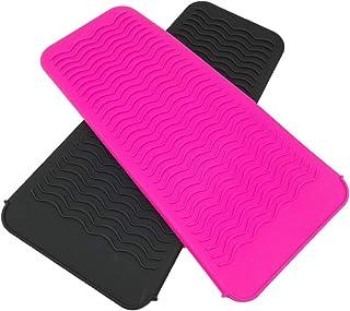 Paquete de 2 alfombrillas de silicona portátiles para peinar, resistente al calor, funda para almohadilla para rizar, alisador de pelo, bolsa de viaje, para plancha plana, varita rizadora
