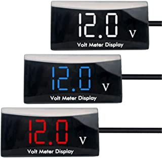 FayOK LCD Digital Car Voltmeter 12V//24V Vehicle Voltage Gauge Monitor Compatible for Auto Car Truck