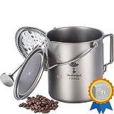 Camping Coffee Cup Titanium Mug, Bestargot Outdoor French Press Pot, Camp Cooking Pot, Multi-Functional Travel Mug, Pot, Capacity 25 Fl Oz, Light and Portable 7.7 Oz