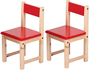 Children's Chair, Solid Wood Decor Chairs Wooden Seat Seat Nursery, Boys Girls, Layroom Daycare Preschool (Color : Red, Size : 2 Chairs) (Red,4 Chairs)