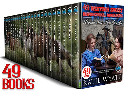 49 Books Western Sweet inspirational Romances 7 Complete Series Mega Box Set (Mega Box Set Series Book 14) by [Katie Wyatt, Kat Carson, Brenda Clemmons, Ellen Anderson]