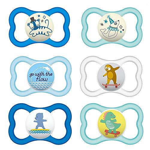 MAM Day & Night MAM Air - Ciuccio in silicone, 16+ MAM, Air Night Uni Mix, set da 6, incl. 3 contenitori sterili per il trasporto.
