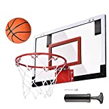 18' x 12' Mini Basketball Hoop Wall Mount Indoor w/Spring-Action Break-Away Steel Rim & Shatter Resistant Backboard White Black