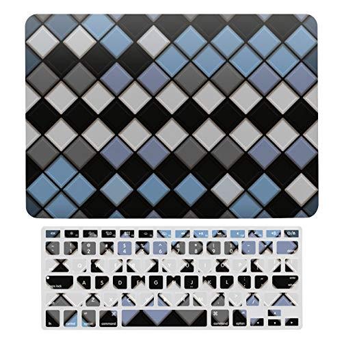 Para MacBook Air 13 Case A1466, A1369, carcasa rígida de plástico y cubierta de teclado compatible con MacBook Air 13, azul negro, gris, patrón de cuadros de diamante para ordenador portátil