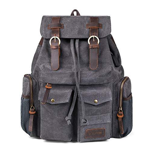 Canvas Backpack, Bookbag for Men Women with USB Charging Port, PKUVDSL Vintage Travel Rucksack or...