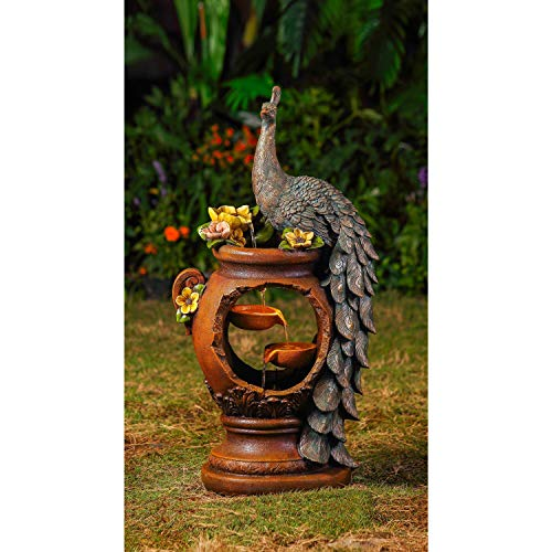 Peacock Polyresin/Fiberglass Water Fountain with Led Lighting Multi Color Polyresin