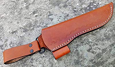 "Ottoza Custom Handmade Brown 7"" Leather Knife Sheath for 7 inch Blade for Bushcraft Knife - Hunting Knife - Survival Knife - Skinning Knife Vertical Carry/Cow - Buffalo Leather"