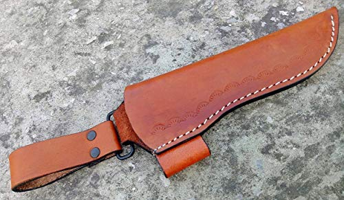 Ottoza Custom Handmade Brown 7' Leather Knife Sheath for 7 inch Blade for Bushcraft Knife - Hunting Knife - Camping Knife - Survival Knife - Fixed Blade Knives Vertical Carry/Cow-Buffalo Leather No:74