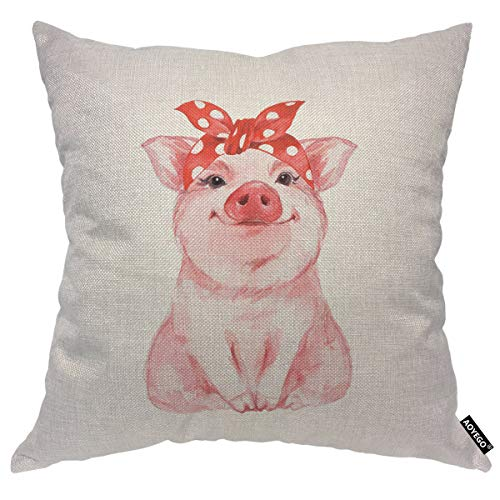 AOYEGO Funny Pig Throw Pillow Cover Cute Watercolor Cartoon Animal Sketch Lovely Portrait Pillow Case 18x18 Inch Decorative Cotton Linen Square Cushion for Home Couch Bed