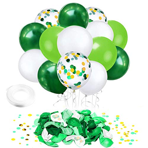 Jungle Theme Party Balloons Supplies- 50pcs 12 inch White Green Gold Confetti Latex Balloons with 33 Ft White Ribbon for Summer Pool Baby Shower Birthday Party Spring Decorations
