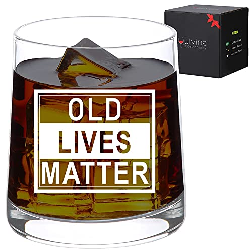 Funny Birthday Gifts for Men Unique Gag Gift for Dad Retirement Gifts for Him Mens Man 50th 60th 70th Year Bday Gift Ideas Decorations for Dads Grandpa Guys Father Old Lives Matter Whiskey Glass 9.5oz