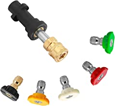Sooprinse Pressure Washer Gun Adapter with 0.8 Inch Wand Replacement Parts, for Karcher K Series, 1/4 Inch Quick Connect Fitting with 5 Color Pressure Washer Spray Nozzle Tips