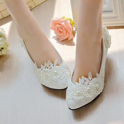 JINGXINSTORE Chaussure de mariage nuptiale florale de dentelle de perle blanche de coeur haut talon