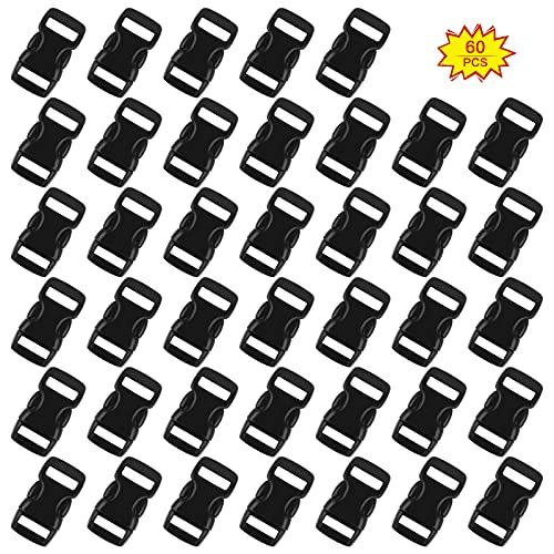 Yuehuabao 60Pcs Mini Hebillas de Plastico Cierres de Hebilla Negro de Liberación Lateral Rápida Hebilla para Pulseras de Paracord Collar de Perro Correas Mochila(Negro,para 10mm Correa)