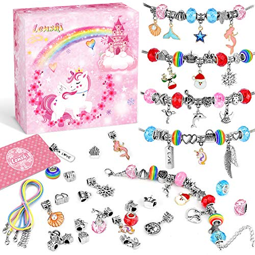 Lenski Gifts for Girls Gifts, Charm Jewellery Making Kit, Unicorn Gifts for Teenage Grils, Art and Craft for Kids, Bracelet Making Kit for Girls Gifts Girls Toys Presents Gifts for 6-12 (3 Chains)