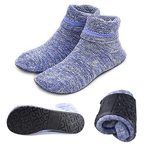 AIYUE Calze a Pantofola da Donna Antiscivolo Calze con Suola in Gomma Morbida (Blu, L (25.0cm))