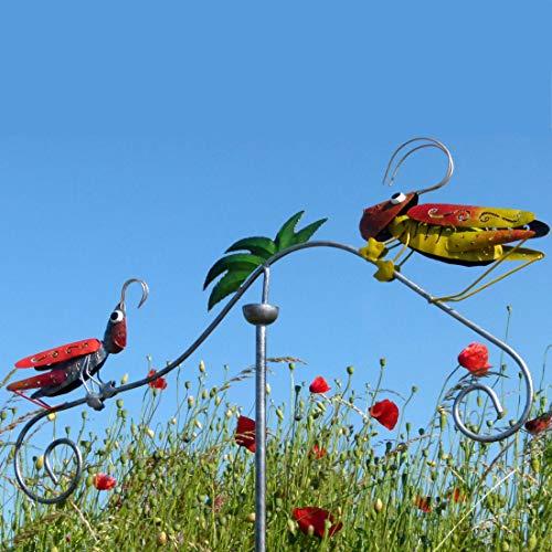 Pommerntraum ®  Windspiel Gartenstecker aus Metall   Unruhe   Mobile   Gartenpedel   Gartendekoration   Heuschrecken Familie