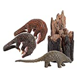F Fityle de Animales de Juguete, Juego de Modelos de Juguetes de Animales de Aspecto Realista, Pangolín de Plástico con Tocón de árbol, Juguetes de Apre