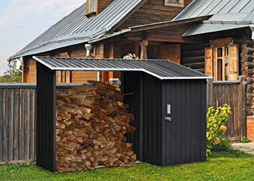 Hanover HANMLTIWDSHD-Gry 2-in-1 Galvanized Steel Multi-Use Shed with Firewood Storage, Gray