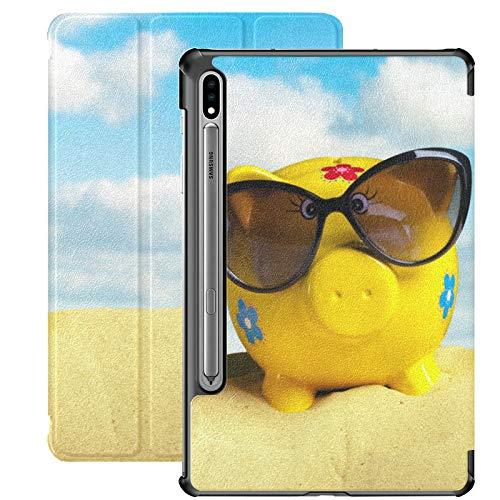 Lechones con Gafas de Sol en la Playa en Verano Fundas para tabletas para Samsung Galaxy Tab S7 / s7 Plus Funda Galaxy Tab E con Soporte Funda Trasera Galaxy Tab E Funda para Galaxy Tab S7 11 Pulgada