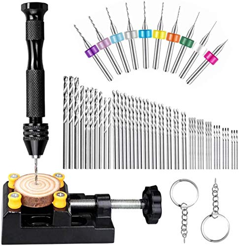 62 Pieces Pin Vises Hand Drill Bits Micro mini Twist Drill Bits Set Pin Vice Rotary Tools with Carving Clamp for Craft Carving, DIY, Woodworking, Plastic, Jewelry, Resin or Model Making (0.3-3.0mm)