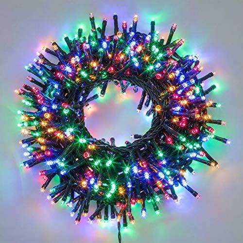 Catena luminosa di natale 180 led serie luminosa natalizie per esterno interno albero cavo filo verde addobbo decorazione per feste con trasformatore 31v (Luce multicolore)