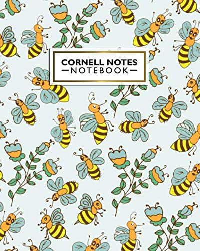 Cornell Notes Notebook: Fun Floral Workbook & Note-Taking System for School, College or University | Medium Lined Cornell Method Book for Work, Class or Home | Awesome Cute Baby Bee Print for Girls
