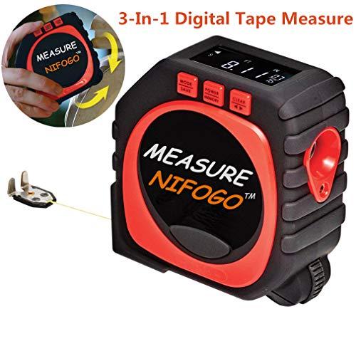 Measure King 3-en-1 Cinta Métrica Digital - Tape Measure, Modo de Cuerda, Modo Sónico y Modo de Rodillo (Rojo & Negro)