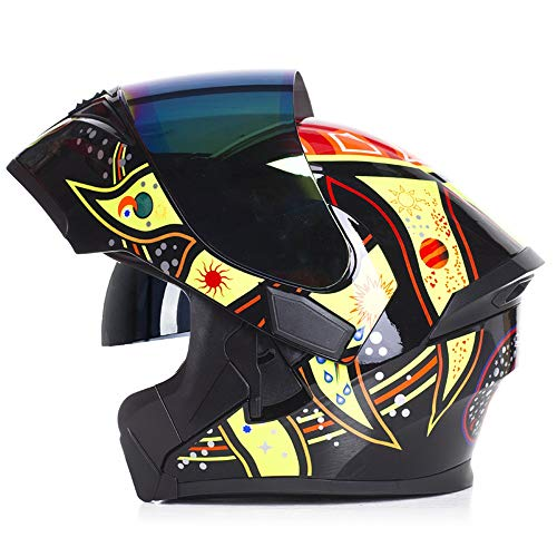 U/D for Hombre de la Cara Llena de Motos Cascos Viseras Dobles compite con los Casco de protección de Las Mujeres Motocross Cascos (Color : Amarillo, Size : XL)