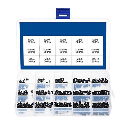 CYH M2 M2.5 M3 Schrauben, 450 Stück Laptop Schrauben Set, Senkkopfschrauben Flachkopf Schrauben Sortiment Kit, Senkschrauben Maschinenschrauben Kit, für Computer PC Pan Selbstschneidende
