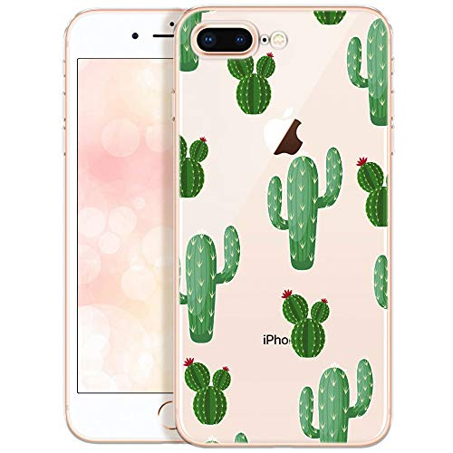 OOH!COLOR Custodia Compatibile con iPhone 8 Plus iPhone 7 Plus Cover Trasparente con Fiori Silicone Morbido Chiaro Cristallo Anti-Scratch Bumper Case Plus con Disegni con Fiori