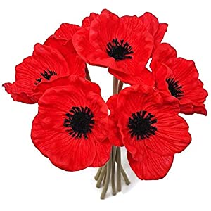 FRP Flowers – Anemone Poppy – 7 PCS Bouquet Real Touch Artificial Flowers for Floral Arrangements and Home Decor (10 Inches)