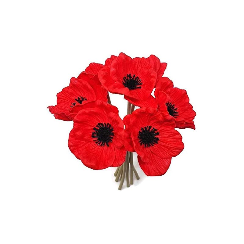 silk flower arrangements frp flowers - anemone poppy - 7 pcs bouquet real touch artificial flowers for floral arrangements and home decor (10 inches) (red)