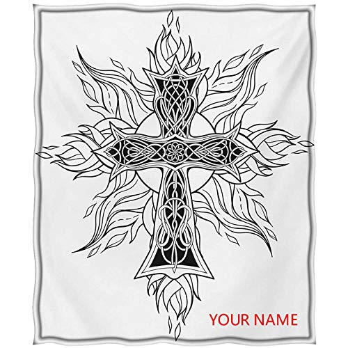 Celtic Light Blanket, Gothic Image of Cross in Celtic Style Flames of Fire Simplistic Traditional Pattern DIY Blanket, Custom from Your Photo, Black White W60 by L80(to Figure Custom)