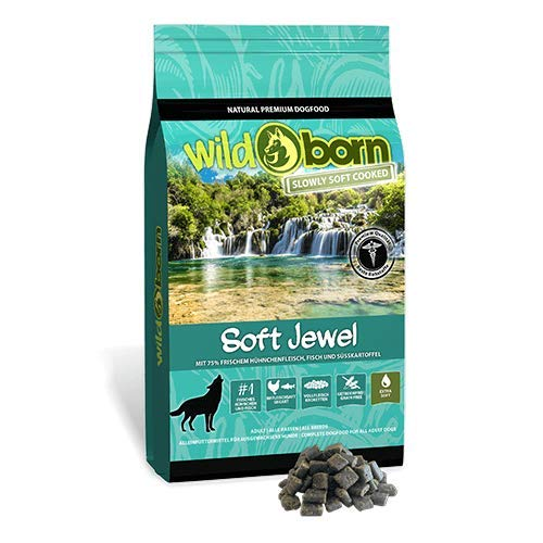 Wildborn SOFT JEWEL 4 kg getreidefreies Hundefutter mit 75% frischem Huhn & Fisch | extra soft Hundefutter mit hohem Fleischanteil | getreidefreie Rezeptur aus Deutschland | Halbfeuchtes Trockenfutter