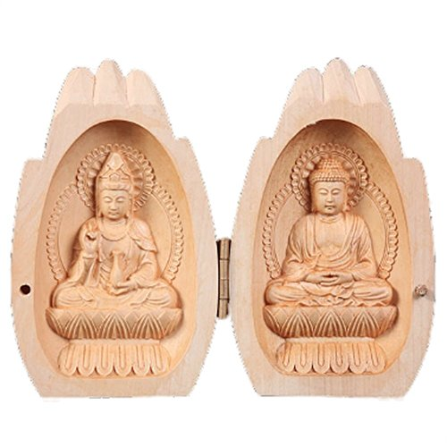 EBISSY Buddha Statue Small Hand Carved Wooden Box [ Home Decor Mini Buddhist Altar ] Portable Temple (Praying Hands)