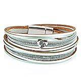 StarAppeal Armband Wickelarmband in Leder mit Herz, Kette und Magnetverschluss Silber, Damen Armband (Mint-Weiß)