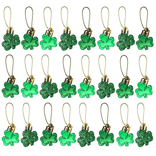 Dulzod 24pcs St Patrick#039s Day Shamrocks Ornament Good Luck Clover Hanging Bauble St Patricks Day Ornaments for Tree Lucky Clover Pendant Decorations for St Patrick#039s Day Party Favor Gift Supplies