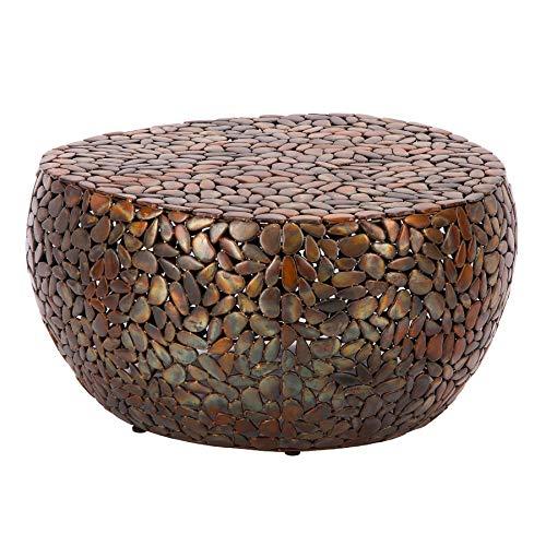 Invicta Interior Extravaganter Couchtisch Stone Mosaic 85cm Kupfer Handarbeit Mosaik Optik Wohnzimmertisch