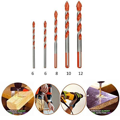 Triangular-overlord Handle Drill Bits,Multifunctional Tool for Ceramic Tile Wall,for Concrete Brick Glass Plastic and Wood Assorted (Size 5 Pcs)