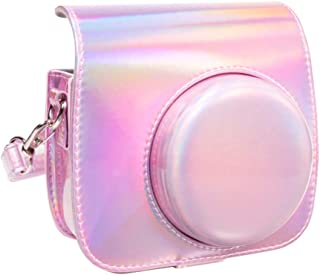 Queen3C Aurora Pink Mini 9 Case Bag for Fujifilm Instax Mini 9 Mini8 Mini8+ Instant Camera, Soft PU Leather Bag with Removable Adjustable Shoulder Strap. (Case Bag, Aurora Pink)