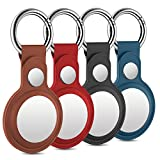 4 Stück Leder Keyring Schutzhülle Kompatibel mit AirTags, Leder Keyring für Apple AirTag, Leder...