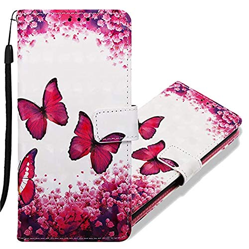 MRSTERUS LG V40 ThinQ case 3D Creative Pattern Design PU Leather Flip Notebook Wallet Case Magnetic Closed Folding Stand Slot Bumper Case for LG V40 ThinQ Red Butterfly YB