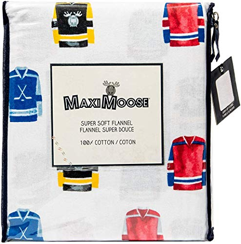 Maximoose Hockey Jersey Boys Kids Sports Super Soft Warm and Cozy 4 Piece 100% Cotton Flannel Sheet Set Twin Full or Queen (Full)
