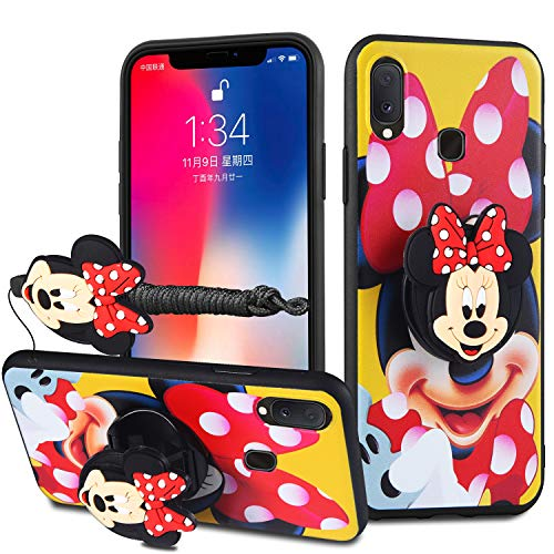 HikerClub Galaxy A20 / A30 / M10S Case Lovely 3D Cartoon Case Mickey Minnie Mouse Soft TPU Silicone Cover with Pop Out Phone Stand Grip Holder and Neck Strap Lanyard (Yellow, A20/A30/M10S)