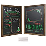 Christmas Decoration: Wooden Chalkboard Frame Photo Prop Board Sign for Kids & Holiday Countdown Christmas Decor. Erasable and Reusable 13' x 17'. White Chalk Included. Set of 2 Boards (Version 1)